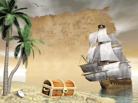 floating island: Pirate ship holding black Jolly Roger flag floating on the ocean toward an island showing treasure box by cloudy sunset with seagulls flying and old map