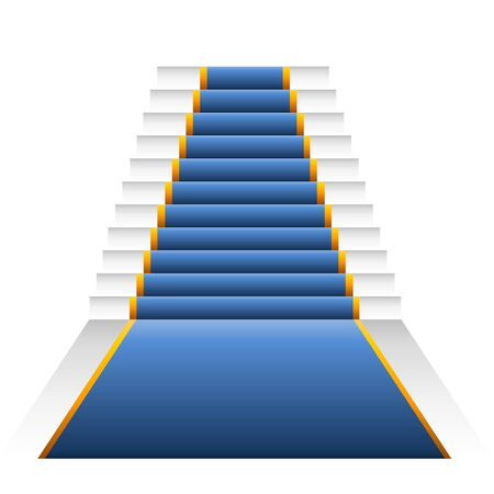 Blue elegant stairs isolated in white  photo