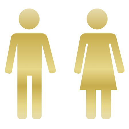 Golden male and female sign on white  photo