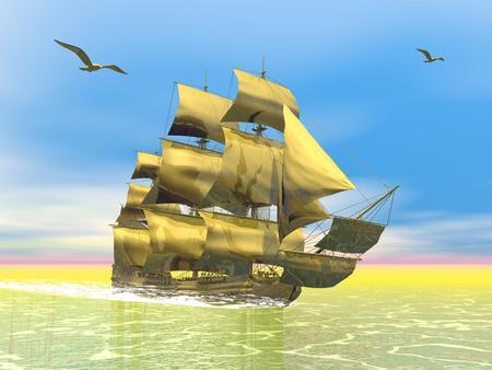 Beautiful detailed golden old merchant ship next to seagulls