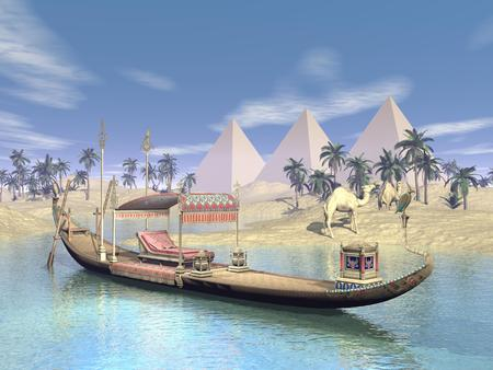 barge: Egyptian sacred barge with throne floating on water near beach, pyramids, palm trees and camels Stock Photo