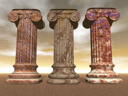 Three brown marble columns or pillars in cloudy backgound sky