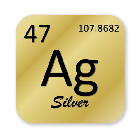 ag: Black silver element into golden square shape isolated in white background Stock Photo