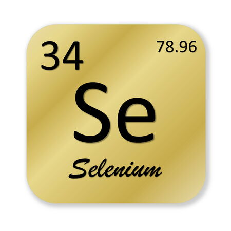 Black selenium element into golden square shape isolated in white background