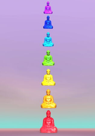 Seven colorful buddhas for chakra column in violet background photo