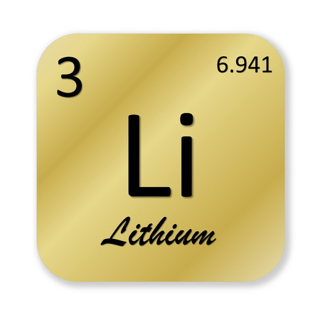 Black lithium element into golden square shape isolated in white background photo