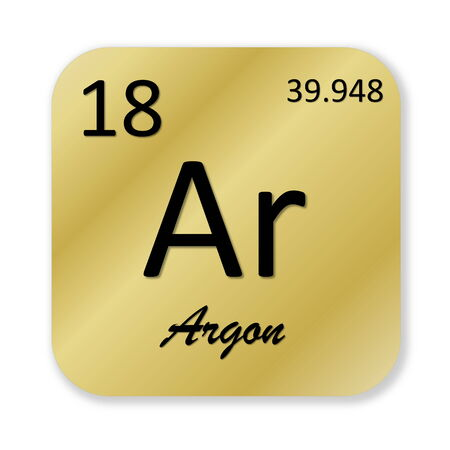 argon: Black argon element into golden square shape isolated in white background