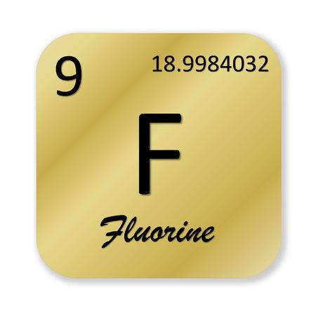 fluorine: Black fluorine element into golden square shape isolated in white background Stock Photo