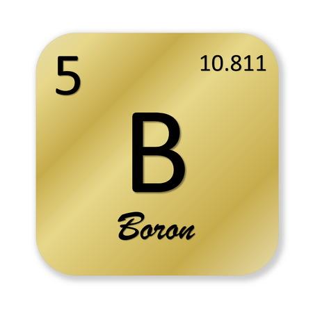 boron: Black boron element into golden square shape isolated in white background Stock Photo