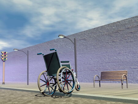 trying: Wheelchair trying to get on sidewalk but almost falling down Stock Photo