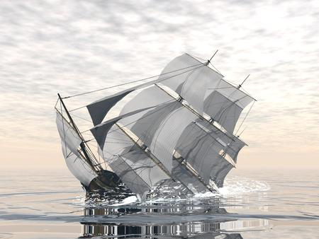바다에서 침 몰하는 아름 다운 자세한 오래 된 상인 우주선