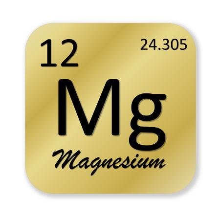 magnesium: Black magnesium element into golden square shape isolated in white background Stock Photo