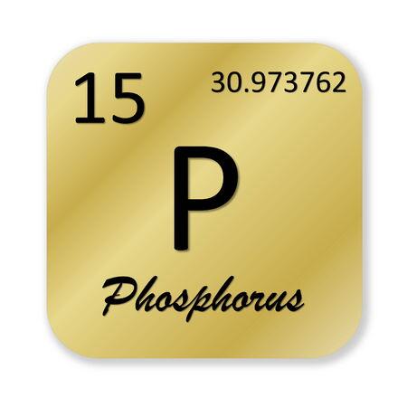 white phosphorus: Black phosphorus element into golden square shape isolated in white background