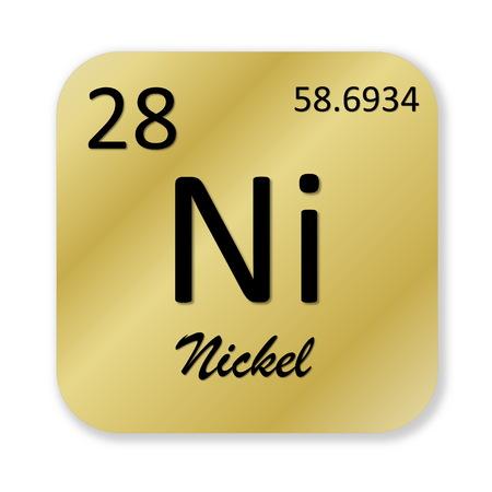 Elemento de n�quel negro en forma cuadrada de oro aislado en fondo blanco photo
