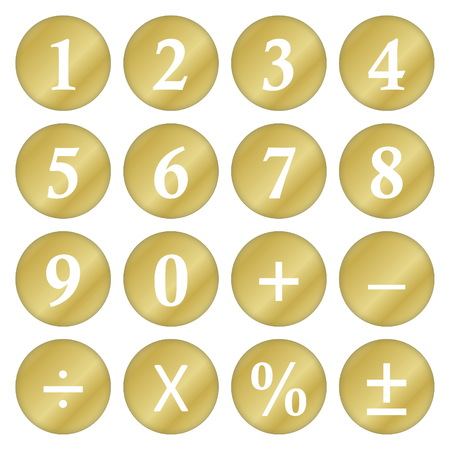 Golden mathematical numbers and symbols isolated in white background photo