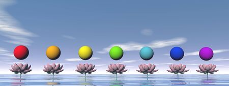 Colorful spheres for chakras upon beautiful pink lily flowers by day light photo