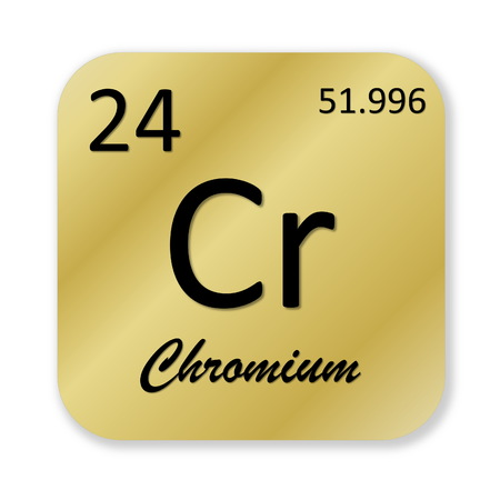 cr: Black chromium element into golden square shape isolated in white  Stock Photo