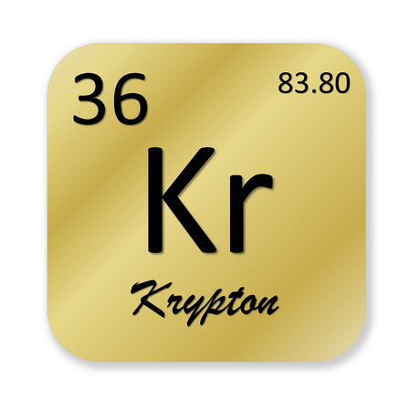 Black krypton element into golden square shape isolated in white