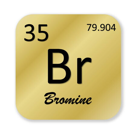 br: Black bromine element into golden square shape isolated