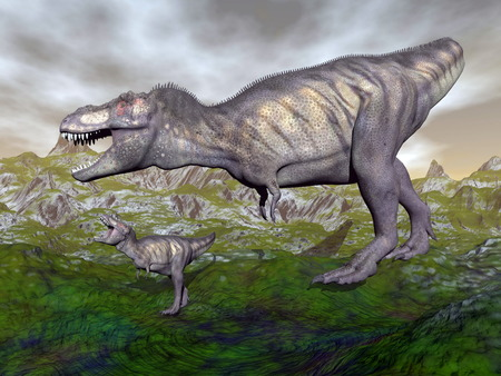 trex: Tyrannosaurus rex dinosaurs mum and baby walking in the mountain by cloudy day