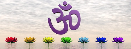Violet aum upon lily flowers with chakra colors by sunset sky photo