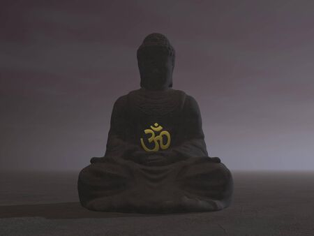 Silhouette of one buddha meditating while holding a aum by night photo