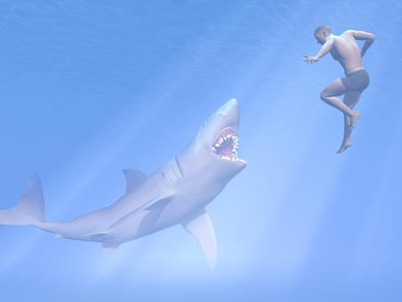 attacking: Underwater shark with open mouth attacking man swimming