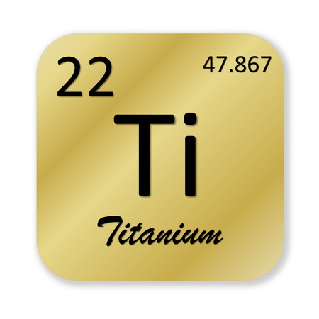 titanium: Black titanium element into golden square shape isolated in white background