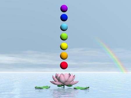 Colorful spheres for chakras upon beautiful lily flower and water by day with rainbow photo