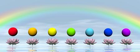 Colorful spheres for chakras upon beautiful lily flowers and water by day with rainbow photo