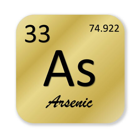 arsenic: Black arsenic element into golden square shape isolated in white background