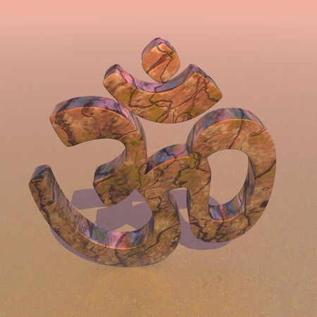 3d aum: Big aum symbol standing on the ground with shadow