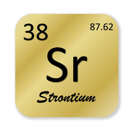 strontium: Black strontium element into golden square shape isolated in white background
