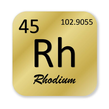 rhodium: Black rhodium element into golden square shape isolated in white background Stock Photo