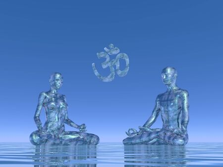 3d om: Man plus woman silhouettes meditating upon water and next to aum symbol in blue background Stock Photo