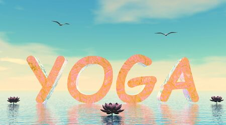 3d om: Yoga letters upon water next to lily flowers by beautiful day with seagulls