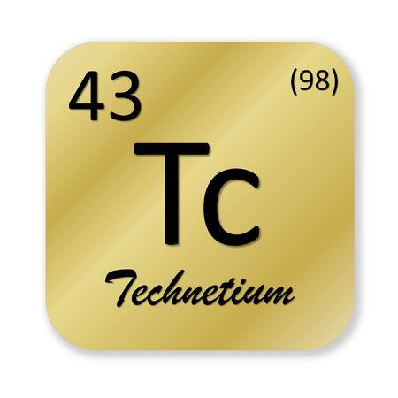 Black technetium element into golden square shape isolated in white background photo