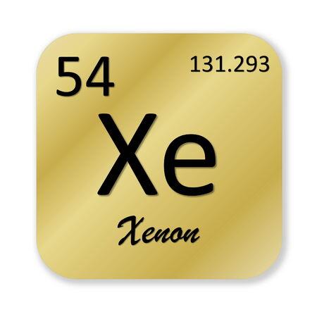 xenon: Elemento xen�n Negro en forma cuadrada de oro aislado en fondo blanco Foto de archivo