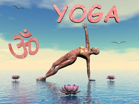 3d aum: Woman practicing yoga upon water next to aum symbol and lily flowers by day