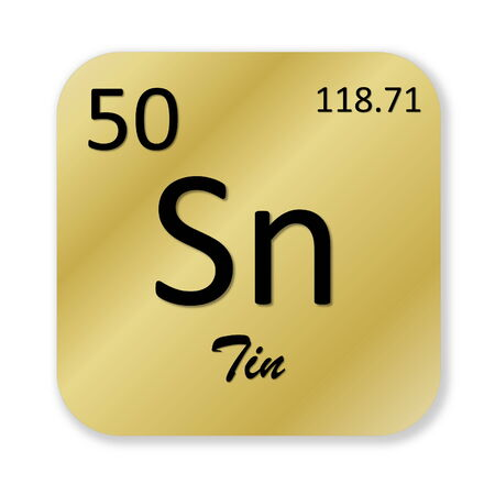 isotope: Black tin element into golden square shape isolated in white background