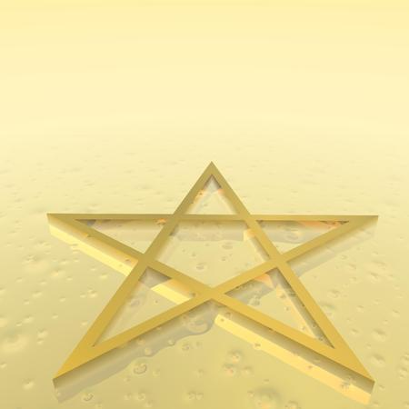 jewish star: Magen David  star of David  as jewish religious symbol in golden ground Stock Photo