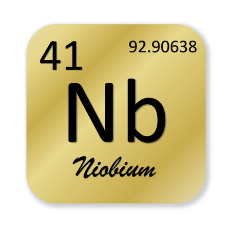 nb: Black niobium element into golden square shape isolated in white background