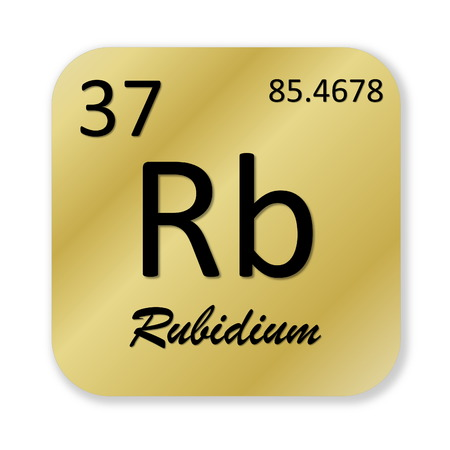 alkali metal: Black rubidium element into golden square shape isolated in white background Stock Photo