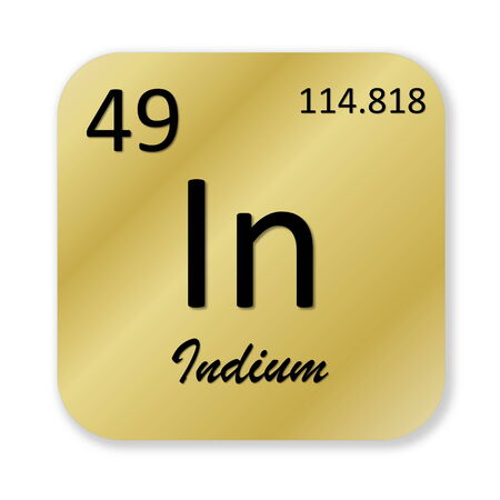 indium: Black indium element into golden square shape isolated in white background