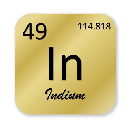 indium: Black indium element into golden square shape isolated in white background