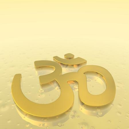 3d aum: Aum or om symbol in golden background floor