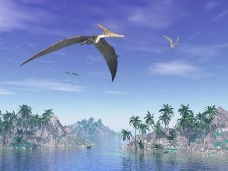 Pteranodon birds flying upon islands with palm trees by beautiful day