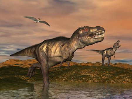 2 ティラノサウルス恐竜プテラノドン鳥曇り日没風成層の風景の中に飛ぶと歩いて