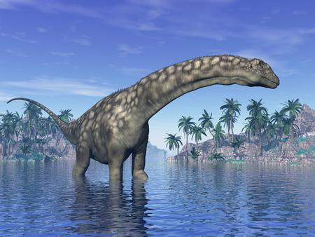 Argentinosaurus dinosaur in water next to islands with palm trees by beautiful day photo