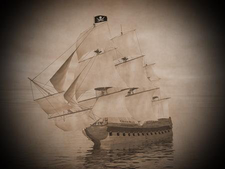 Piratenschip met zwarte vlag Jolly Roger en drijvend op de oceaan door bewolkte zonsondergang Stockfoto